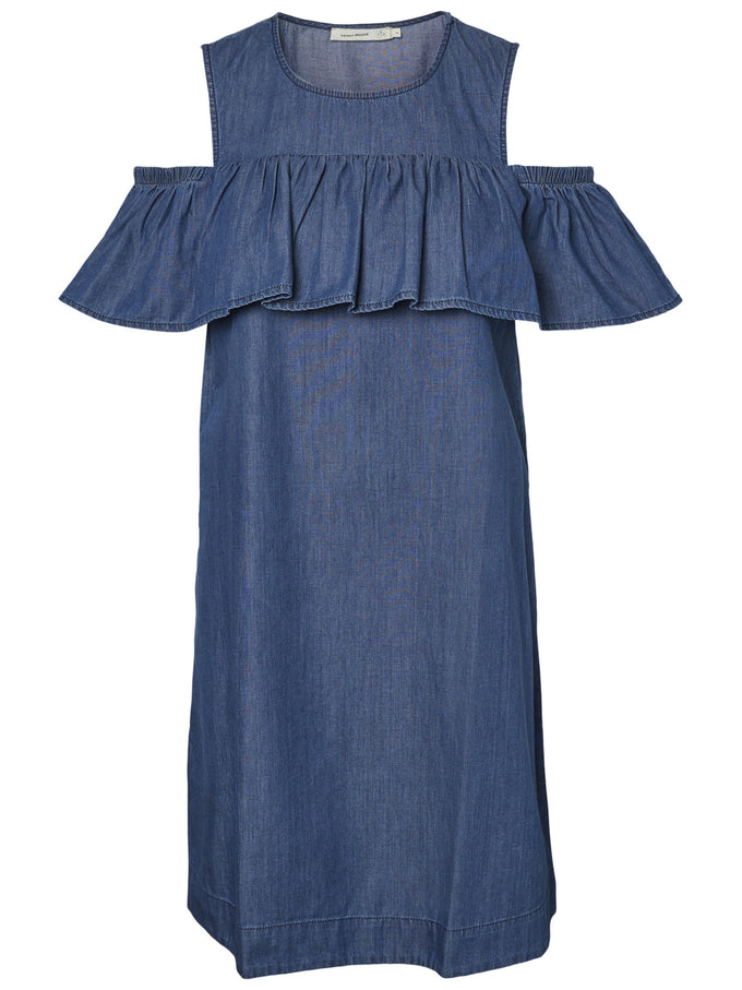 COLD SHOULDERS ORGANIC COTTON DRESS MEDIUM BLUE DENIM