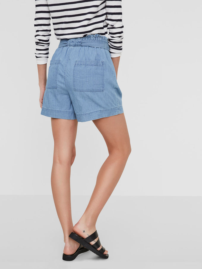 HIGH WAIST CHAMBRAY SHORTS LIGHT BLUE DENIM