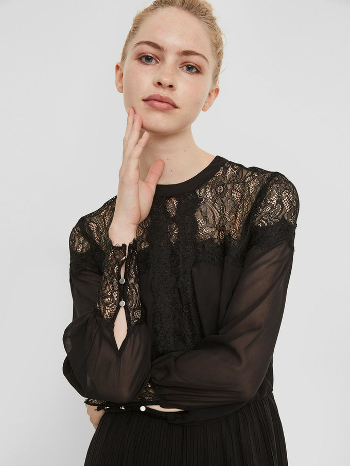 DRESS WITH SEE-THROUGH LACE DETAILS BLACK