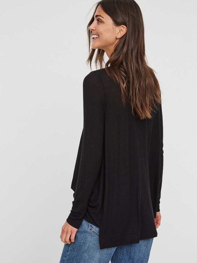 WRAP LONG SLEEVE T-SHIRT BLACK