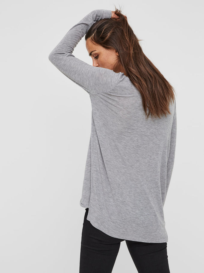 WRAP LONG SLEEVE T-SHIRT LIGHT GREY MELANGE