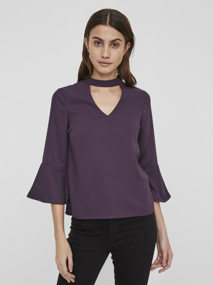 BELL SLEEVE BLOUSE WITH CHOKER DETAIL NIGHTSHADE