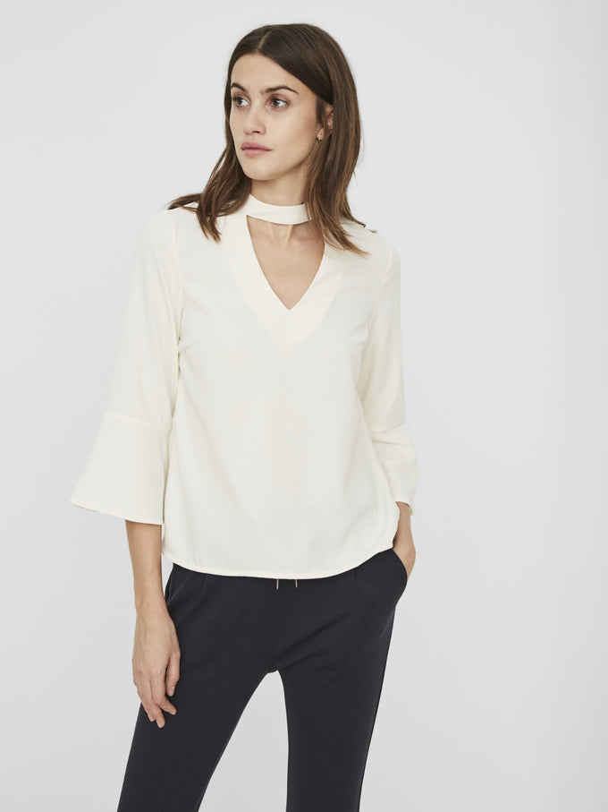 BELL SLEEVE BLOUSE WITH CHOKER DETAIL PRISTINE