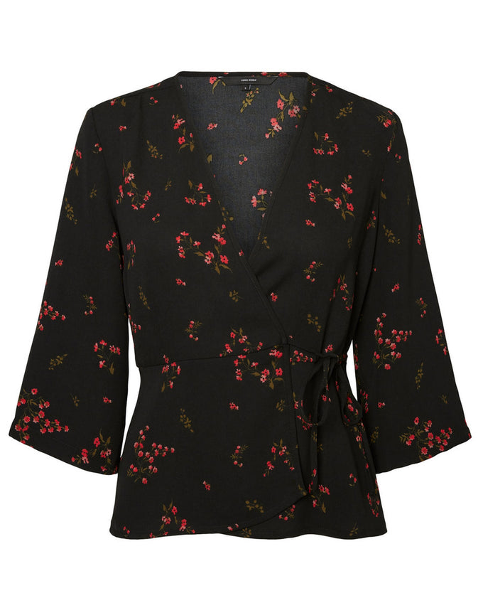 3/4 SLEEVE WRAP BLOUSE BLACK