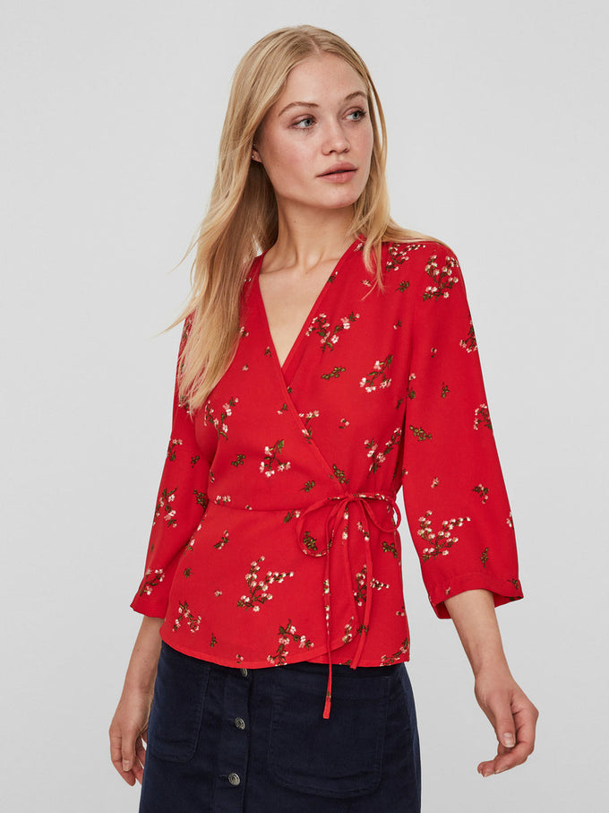 3/4 SLEEVE WRAP BLOUSE LYCHEE