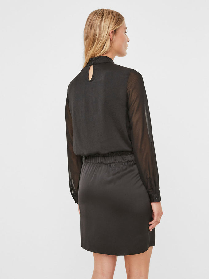 BLOUSE WITH SEE-THROUGH DETAILS BLACK