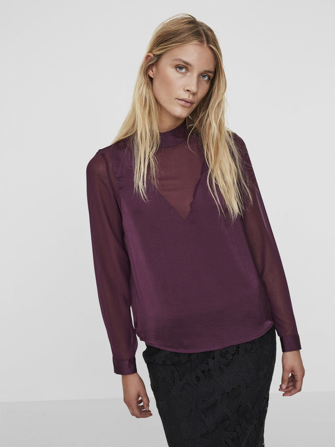 BLOUSE WITH SEE-THROUGH DETAILS POTENT PURPLE