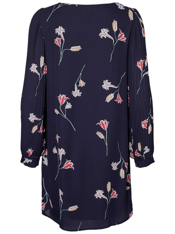 FLORAL DRESS WITH PLEATED DETAILs NIGHT SKY