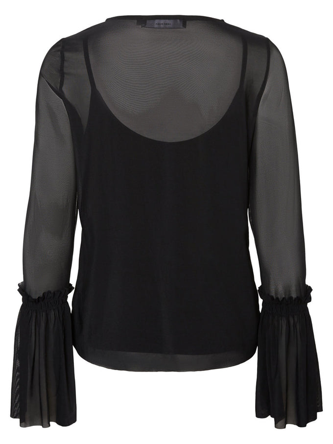 LONG SLEEVE MESH BLOUSE BLACK