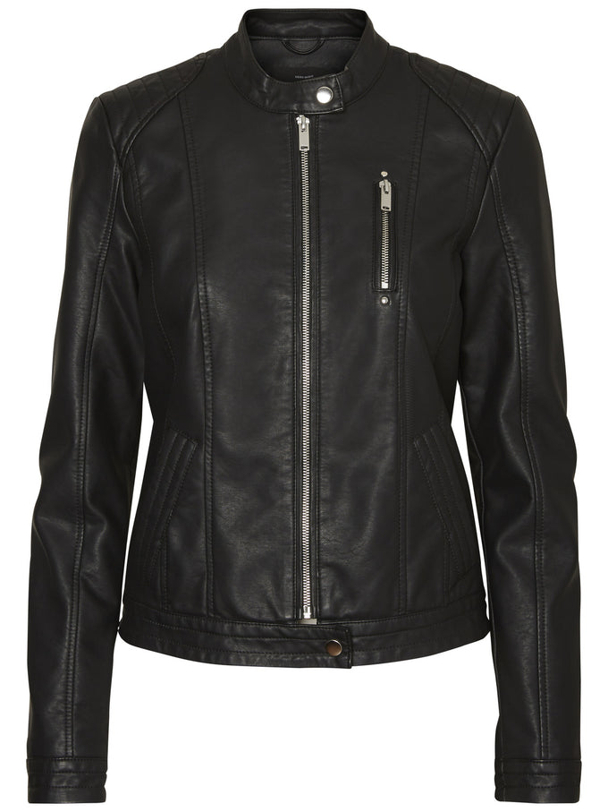 COLLARLESS MOTO JACKET BLACK