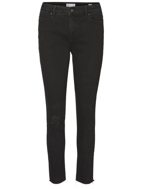 VMSEVEN SLIM FIT DISTRESSED BLACK JEANS