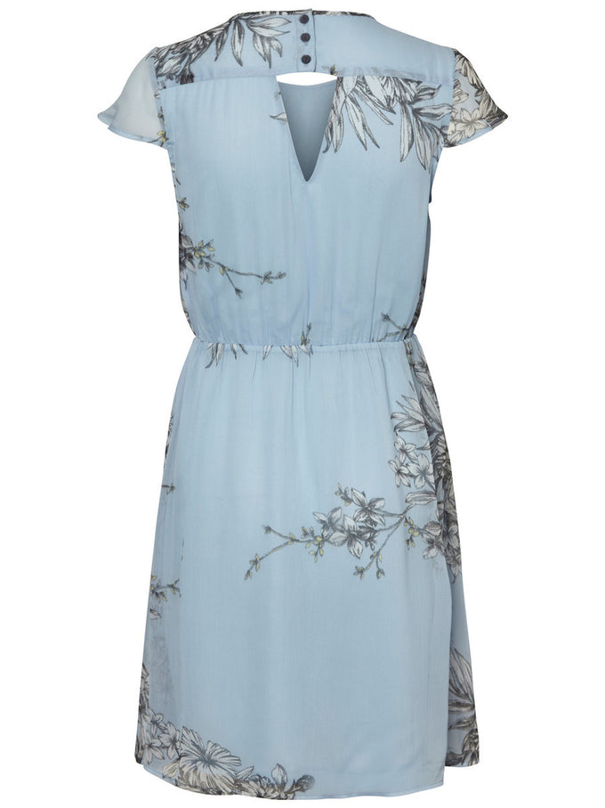 FEMININE FLORAL DRESS CERULEAN