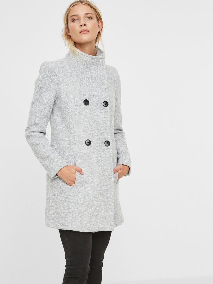 WOOL-BLEND BOUCLÉ JACKET LIGHT GREY MELANGE
