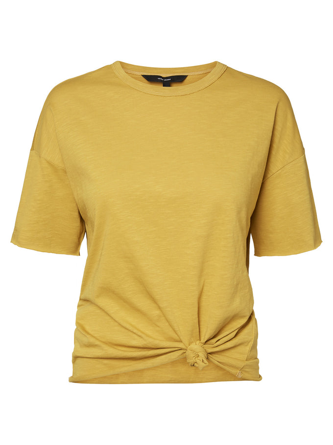COTTON T-SHIRT WITH KNOT GOLD