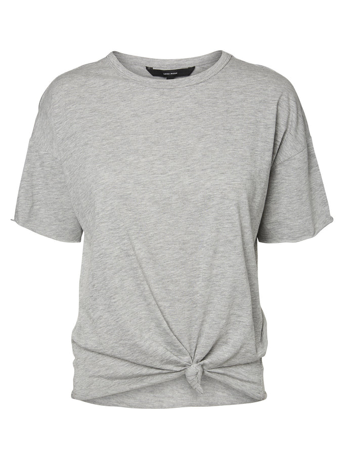 COTTON T-SHIRT WITH KNOT LIGHT GREY MELANGE