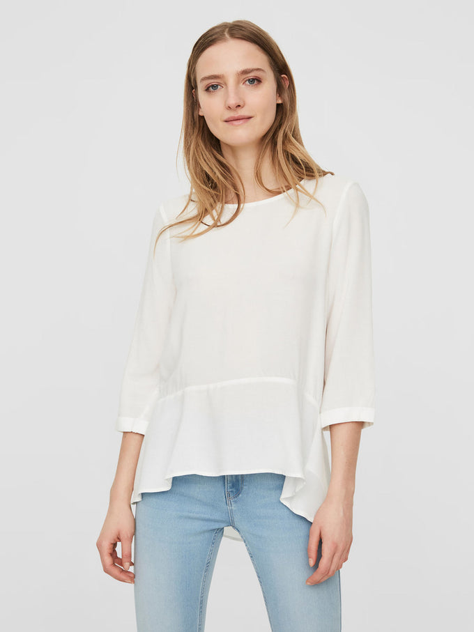 HIGH-LOW PEPLUM BLOUSE SNOW WHITE