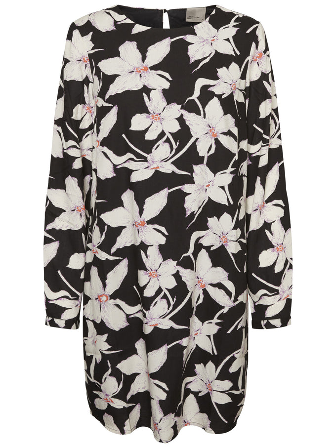 ANNIVERSARY LONG SLEEVE DRESS WITH FLOWERS BLACK