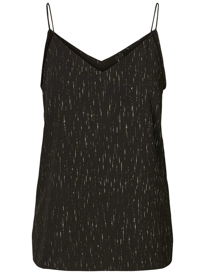 CAMI WITH METALLIC DETAILS BLACK