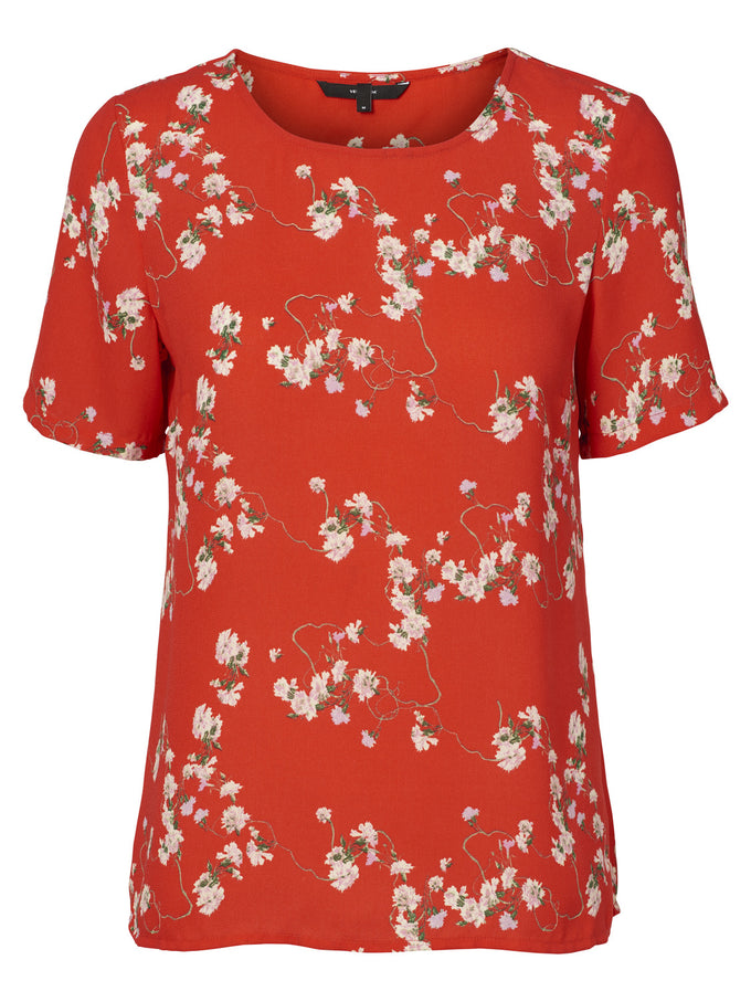 FLORAL CREPE BLOUSE POPPY RED