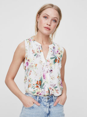 SLEEVELESS TROPICAL PRINT BLOUSE
