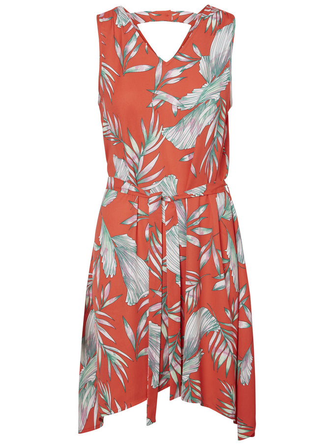 TROPICAL PRINT DRESS POPPY RED
