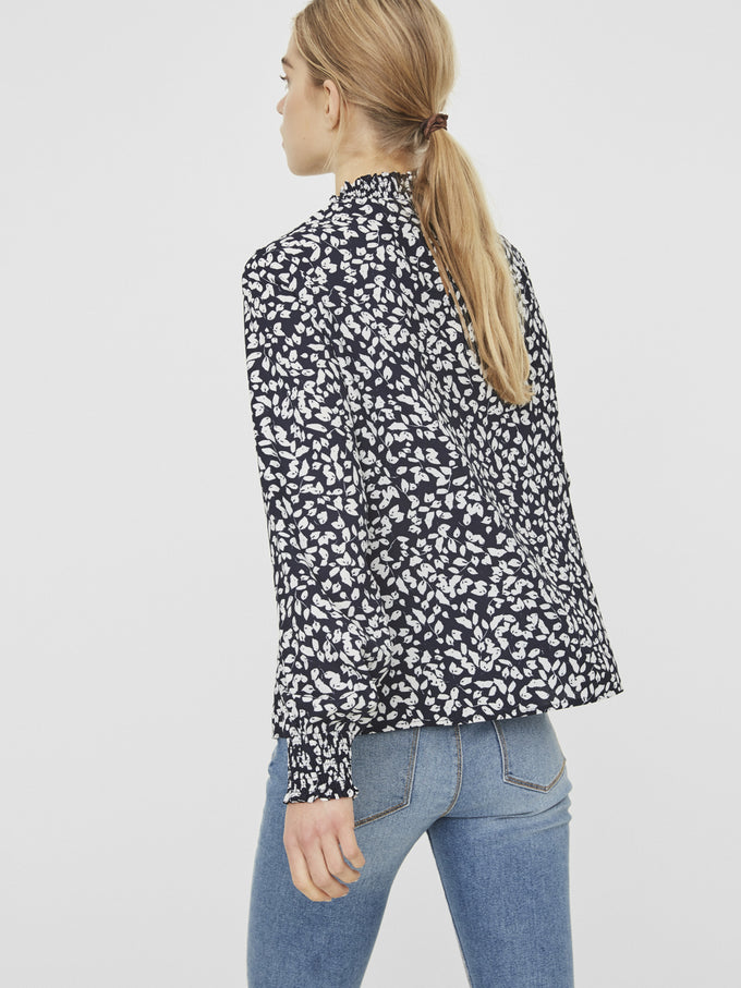 HIGH NECK PRINTED BLOUSE NIGHT SKY