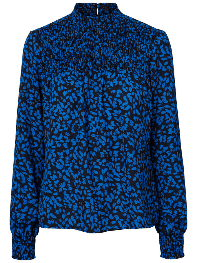 HIGH NECK PRINTED BLOUSE STRONG BLUE