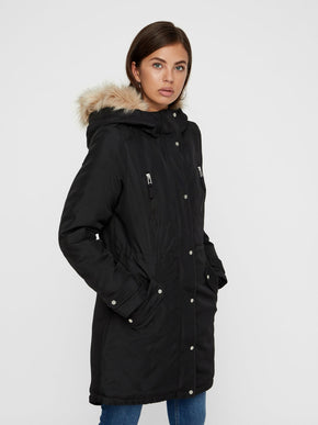 3bc236d2b143c LONG PARKA WITH DETACHABLE FAUX-FUR COLLAR