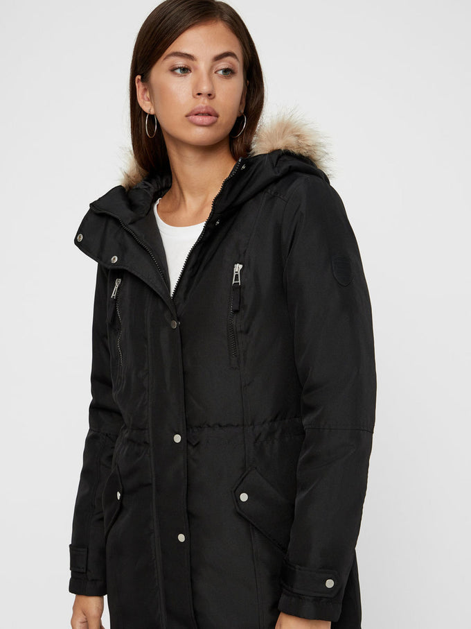 LONG PARKA WITH DETACHABLE FAUX-FUR COLLAR BLACK
