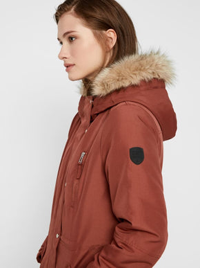 LONG PARKA WITH DETACHABLE FAUX-FUR COLLAR