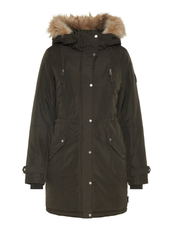 LONG PARKA WITH DETACHABLE FAUX-FUR COLLAR PEAT