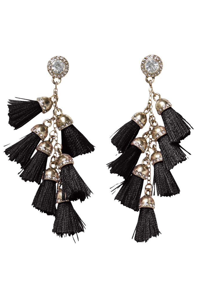EARRINGS WITH TASSELS AND STONES BLACK