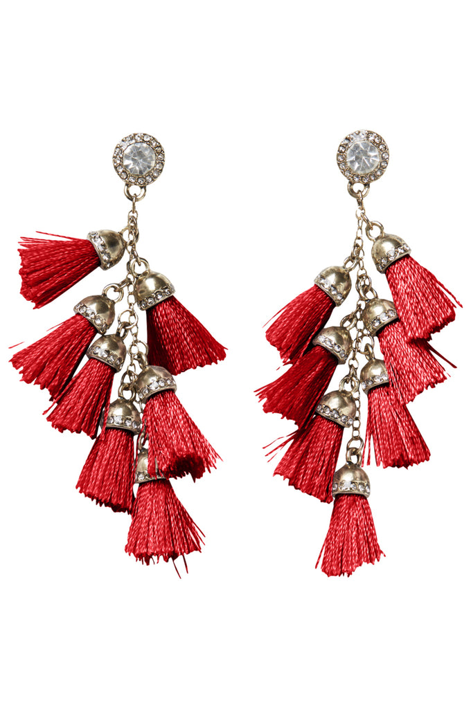 EARRINGS WITH TASSELS AND STONES FLAME SCARLET