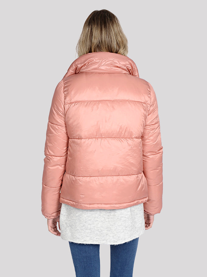 COLOURFUL PUFFER JACKET OLD ROSE