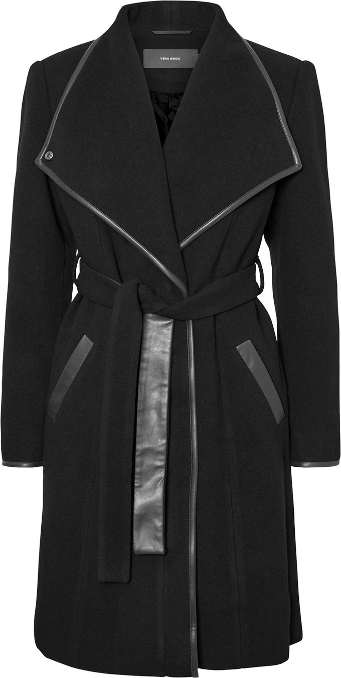 Waterfall Wool Coat SOLID BLACK