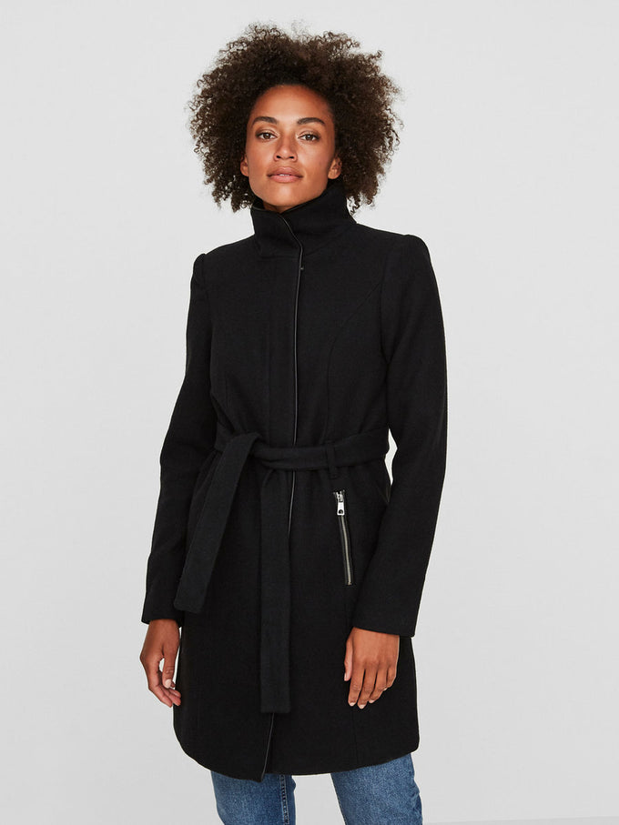 Bessy Wool Coat With Faux Leather Trims BLACK