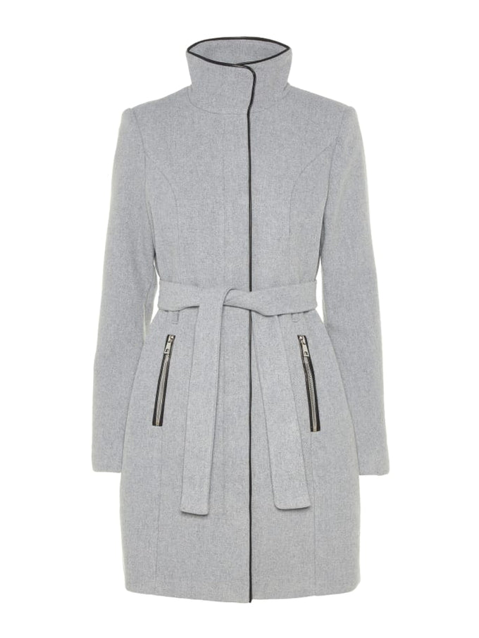 Bessy Wool Coat With Faux Leather Trims LIGHT GREY MELANGE