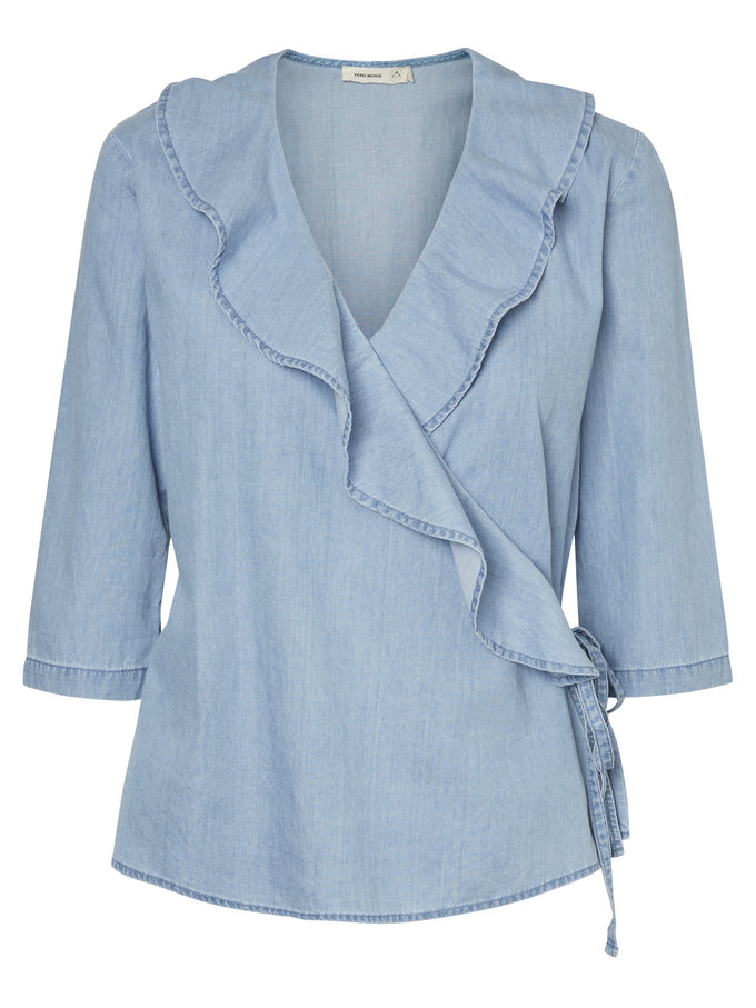 BLOUSE EN COTON ORGANIQUE BLEU DENIM PALE