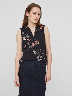 SLEEVELESS BLOUSE WITH FLORAL PRINTS