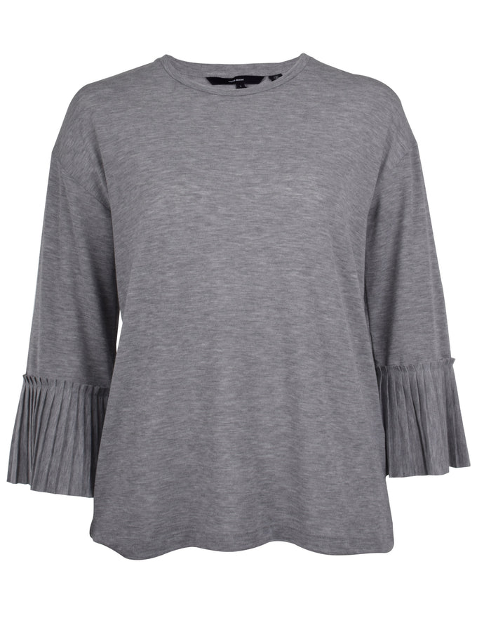 3/4 SLEEVE T-SHIRT WITH PLEATS LIGHT GREY MELANGE
