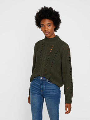 CHENILLE SWEATER WITH HIGH NECK