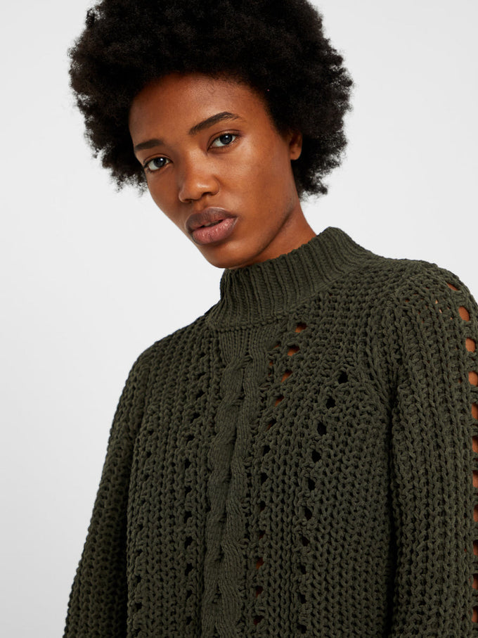 CHENILLE SWEATER WITH HIGH NECK PEAT