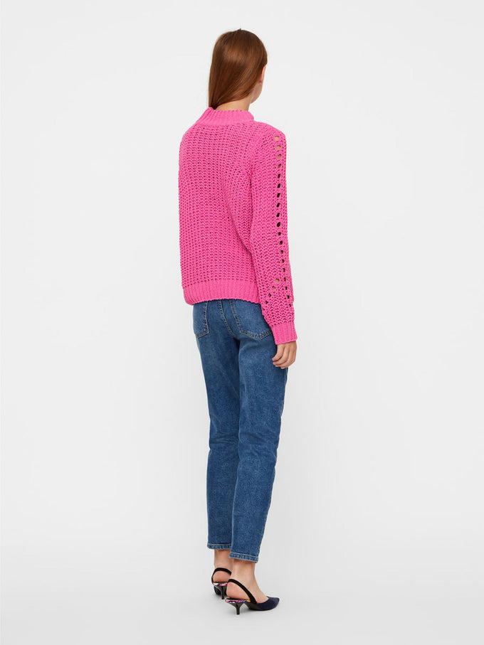 CHENILLE SWEATER WITH HIGH NECK ROSE VIOLET