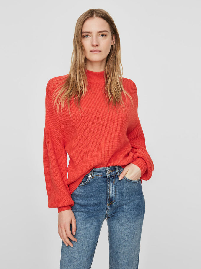 BALLON SLEEVE SWEATER POPPY RED