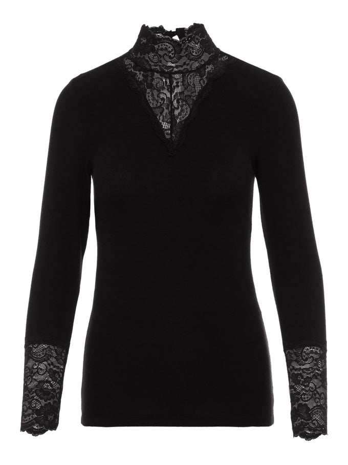 HIGH-NECK T-SHIRT WITH LACE DETAILS BLACK