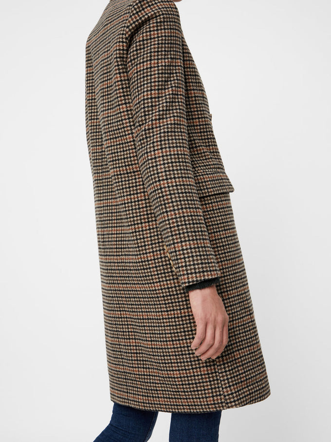 HOUNDSTOOTH WOOL-BLEND JACKET RUST