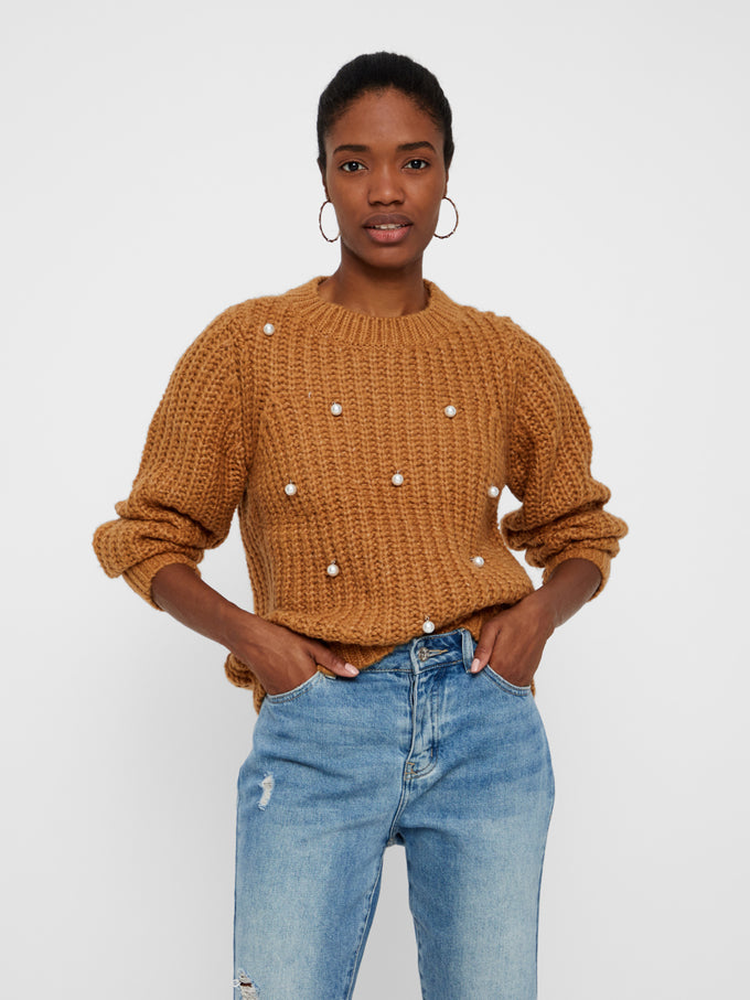 CHUNKY SWEATER WITH PEARLS TOBACCO BROWN