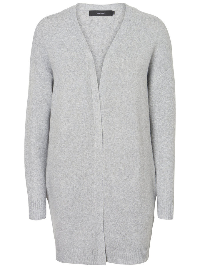 CARDIGAN LONG GRIS PALE