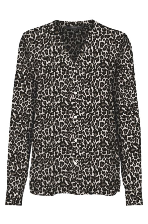 LONG SLEEVE LEOPARD SHIRT OATMEAL