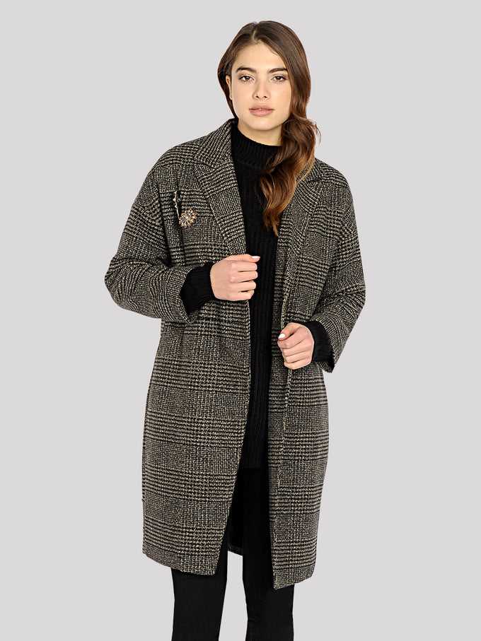 WOOL-BLEND CHECKERED JACKET PEAT